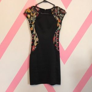 Black and floral evening dress